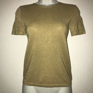 Banana Republic Gold Stretch Short Sleeve Top M